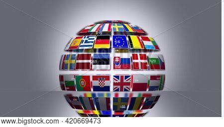 Globe made of different european union countries flags against grey background. european union community concept