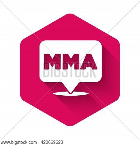 White Fight Club Mma Icon Isolated With Long Shadow Background. Mixed Martial Arts. Pink Hexagon But