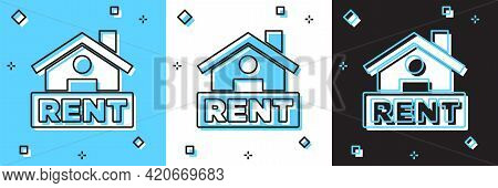 Set Hanging Sign With Text Rent Icon Isolated On Blue And White, Black Background. Signboard With Te