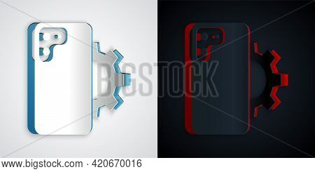 Paper Cut Phone Repair Service Icon Isolated On Grey And Black Background. Adjusting, Service, Setti