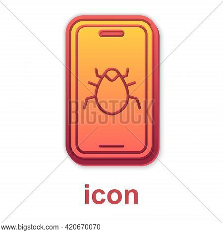 Gold System Bug On Mobile Icon Isolated On White Background. Code Bug Concept. Bug In The System. Bu