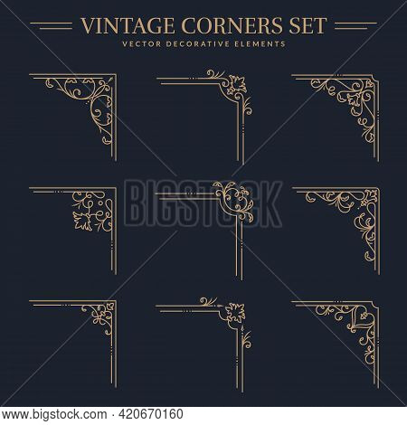 Vintage Golden Corners With Different Shapes. Set Of Isolated Decorative Angle Borders. Flourish Vec