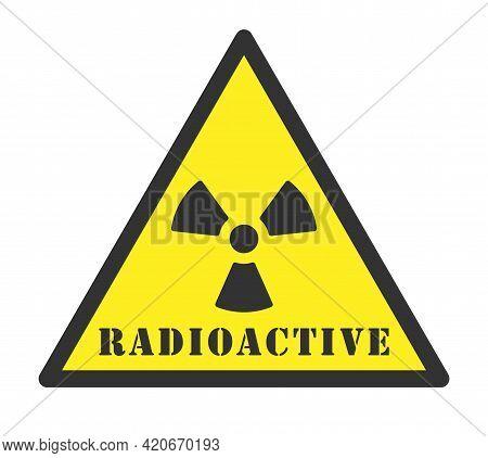 Radioactive Symbol Icon. Nuclear Radiation Warning Triangle Sign. Atomic Energy Logo Label. Vector I
