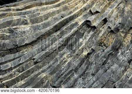 Black Basalt Column Formation In Iceland