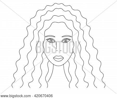 African American Woman. Sketch. Lady's Head Full Face. Vector Illustration. The Girl's Face. Long Cu