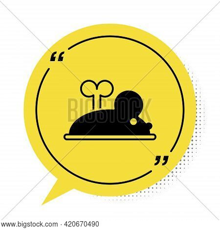 Black Clockwork Mouse Icon Isolated On White Background. Wind Up Mouse Toy. Yellow Speech Bubble Sym