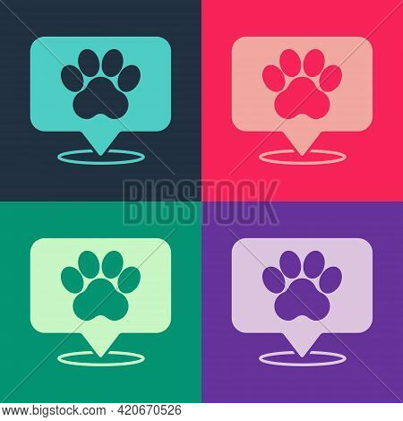 Pop Art Map Pointer With Veterinary Medicine Hospital, Clinic Or Pet Shop For Animals Icon Isolated