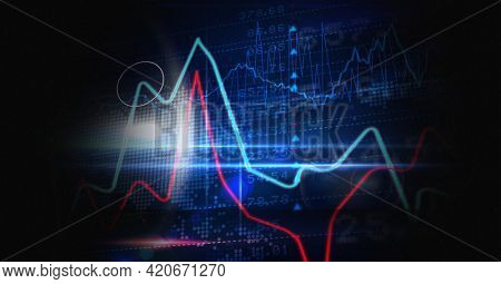 Digitally generated image of statistical and stock market data processing against black background. global finance and technology concept