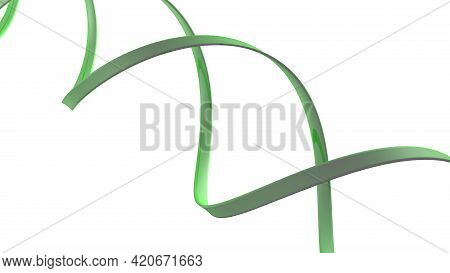 Green Helix Spiral Isolated On White Background - 3d Rendering Illustration