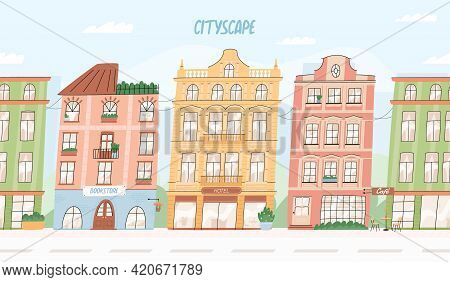 Seamless Vector Cityscape. European City Buildings, Hotel, Bookstore, Cafe. Urban Landscape And Buil