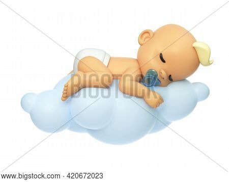 Baby Sleeping On A Cloud 3d Illustration, Cartoon Baby Character 3d Rendering
