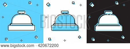 Set Hotel Service Bell Icon Isolated On Blue And White, Black Background. Reception Bell. Vector