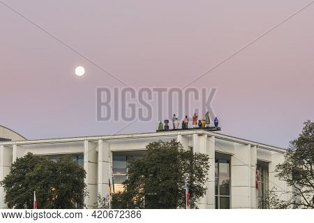 Luebeck, Schleswig-holstein, Germany , August 19, 2016,  Moon Above The Music And Congress Hall In L