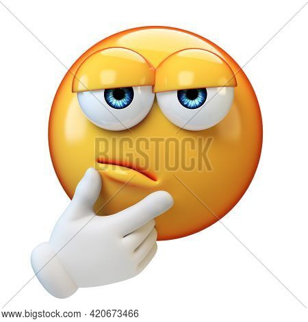 Thinking Emoticon On White Background, Emoticon With Thumb And Index Finger On Its Chin 3d Rendering