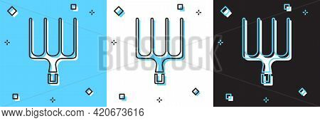 Set Garden Pitchfork Icon Isolated On Blue And White, Black Background. Garden Fork Sign. Tool For H