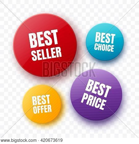Colorful Badges And Stickers. Round Shape Isolated Tags. Best Seller, Best Price And Offer Labels. V