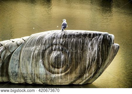 Seagull Posed On A Monument Dedicated To The Sardine In The Segura River In Murcia
