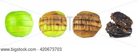 Apple Green Slice Rot Step Isolate On White Backgroud.