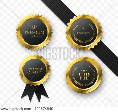 Premium Gold Medals And Badges. Vip Sign. Luxury Medals Collection Isolated On White. Vector Illustr