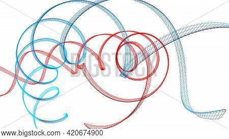 Blue And Red Helical Structures Floating On White Background