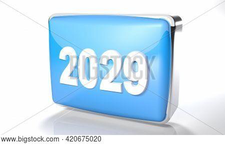 2029 Glossy Blue Box On White Background - 3d Rendering Illustration