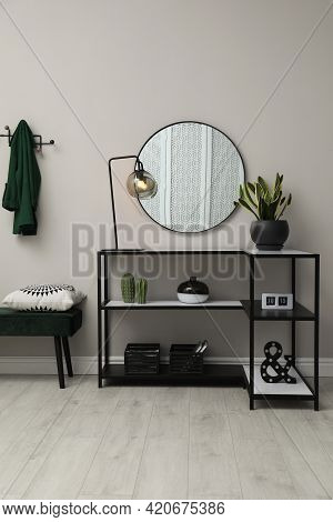 Hallway With Stylish Console Table And Mirror. Interior Design