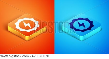 Isometric Lightning Bolt Icon Isolated On Orange And Blue Background. Flash Sign. Charge Flash Icon.