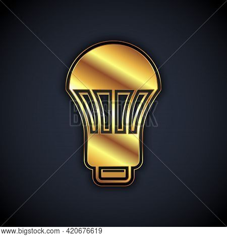 Gold Led Light Bulb Icon Isolated On Black Background. Economical Led Illuminated Lightbulb. Save En