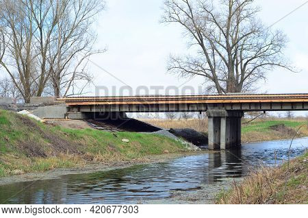 An Old Road Bridge Reconstruction And Repair. A Road Bridge Repair, Resurfacing, Improvement And Rec