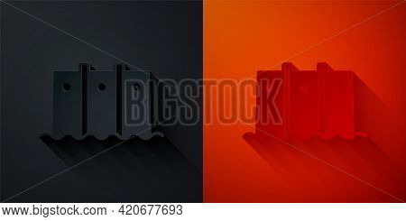 Paper Cut Hydroelectric Dam Icon Isolated On Black And Red Background. Water Energy Plant. Hydropowe