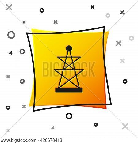 Black Electric Tower Used To Support An Overhead Power Line Icon Isolated On White Background. High