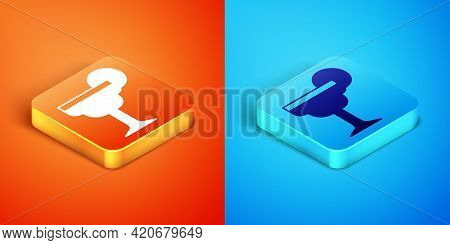 Isometric Margarita Cocktail Glass With Lime Icon Isolated On Orange And Blue Background. Vector