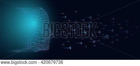 Artificial Intellegence Vector Illustration. Artificial Intellegence Banner Template. Human Big Data