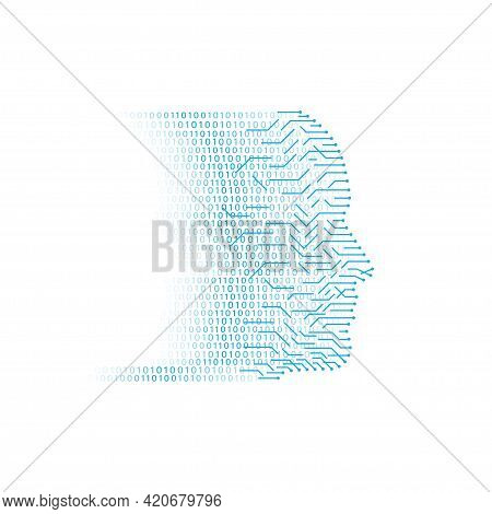 Artificial Intellegence Vector Icon In Flat Style. Artificial Intellegence Big Data Icon. Human Big