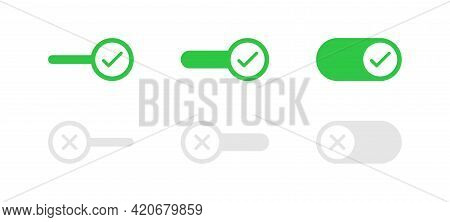 Toggle Buttons Set In Flat Style. Switch Buttons Vector Set. Simple On And Off Sliders. Vector Illus