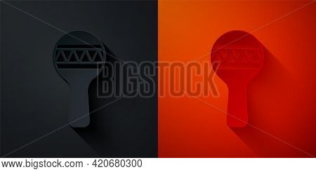Paper Cut Maracas Icon Isolated On Black And Red Background. Music Maracas Instrument Mexico. Paper