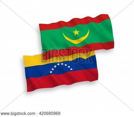 National Fabric Wave Flags Of Venezuela And Islamic Republic Of Mauritania Isolated On White Backgro