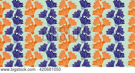 Wild Meadowflower Blossom Seamless Vecor Border. Banner With Abstract Neon Orange Indigo Alternating