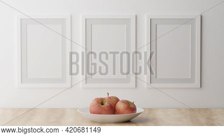 Three Poster Mockup On A White Wall With A White Frame. Cgi Image, 3d Rendering, 3d Illustration Fra