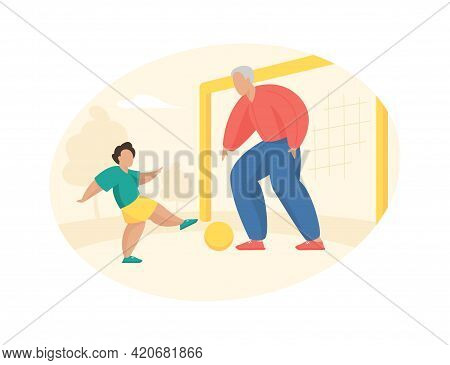 Elderly Man Plays Football With Boy. Grandfather Stands At Goal And Hits Ball His Grandson. Active G
