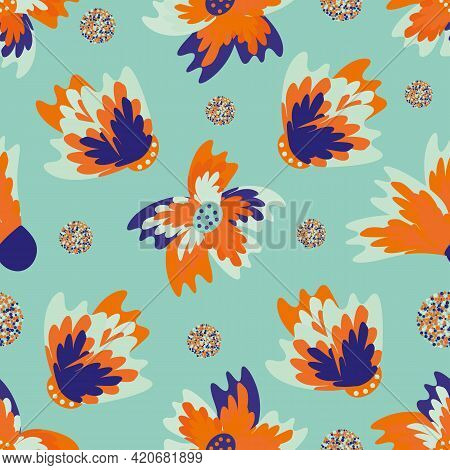 Wild Meadowflower Blossom Seamless Vecor Pattern Background. Blue And Neon Orange Indigo Painterly F