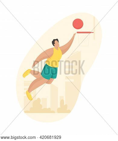 Basketball Player Throws Ball Into Basket. Man In Shorts And Tshirt Jumps With Slam Dunk. Profession