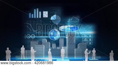 Silhouettes of business people over 3d city model and financial data processing on black background. global business and technology concept
