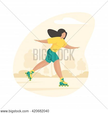 Sporty Girl Rollerblading. Young Woman Cheerfully Rushes Through Summer Park Wheel Skates. Active Ou