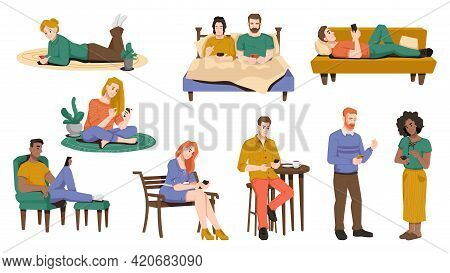 Internet Addiction, People Using Smartphones In Bed, Sitting On Armchair Or On Bench, Lying On Sofa,