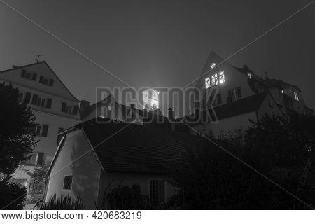 Night Shot Of Stadt Am Hof In Regensburg With Fog