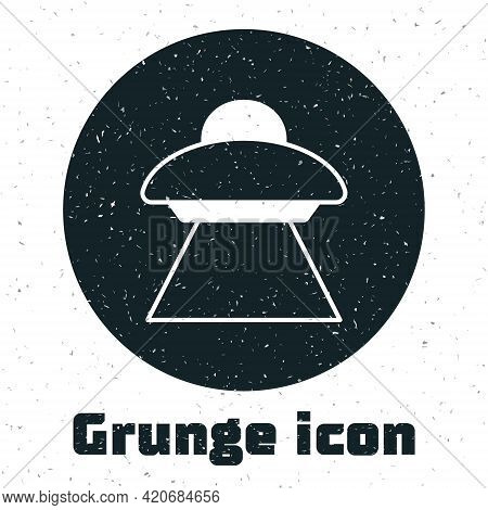 Grunge Ufo Flying Spaceship Icon Isolated On White Background. Flying Saucer. Alien Space Ship. Futu