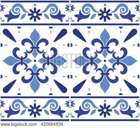 Portuguese Azulejo Tile Seamless Vector Decrative Pattern With Fleur De Lis Motif, Navy Blue Geometr