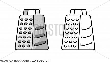 Grater Icon. Isolated On White Background. Vector Hand Drawn Illustration