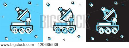 Set Mars Rover Icon Isolated On Blue And White, Black Background. Space Rover. Moonwalker Sign. Appa